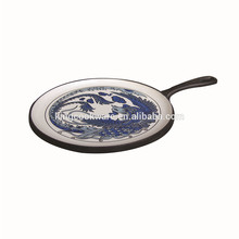 Enamel coating cast iron pizza pan/ fry pan /skillet